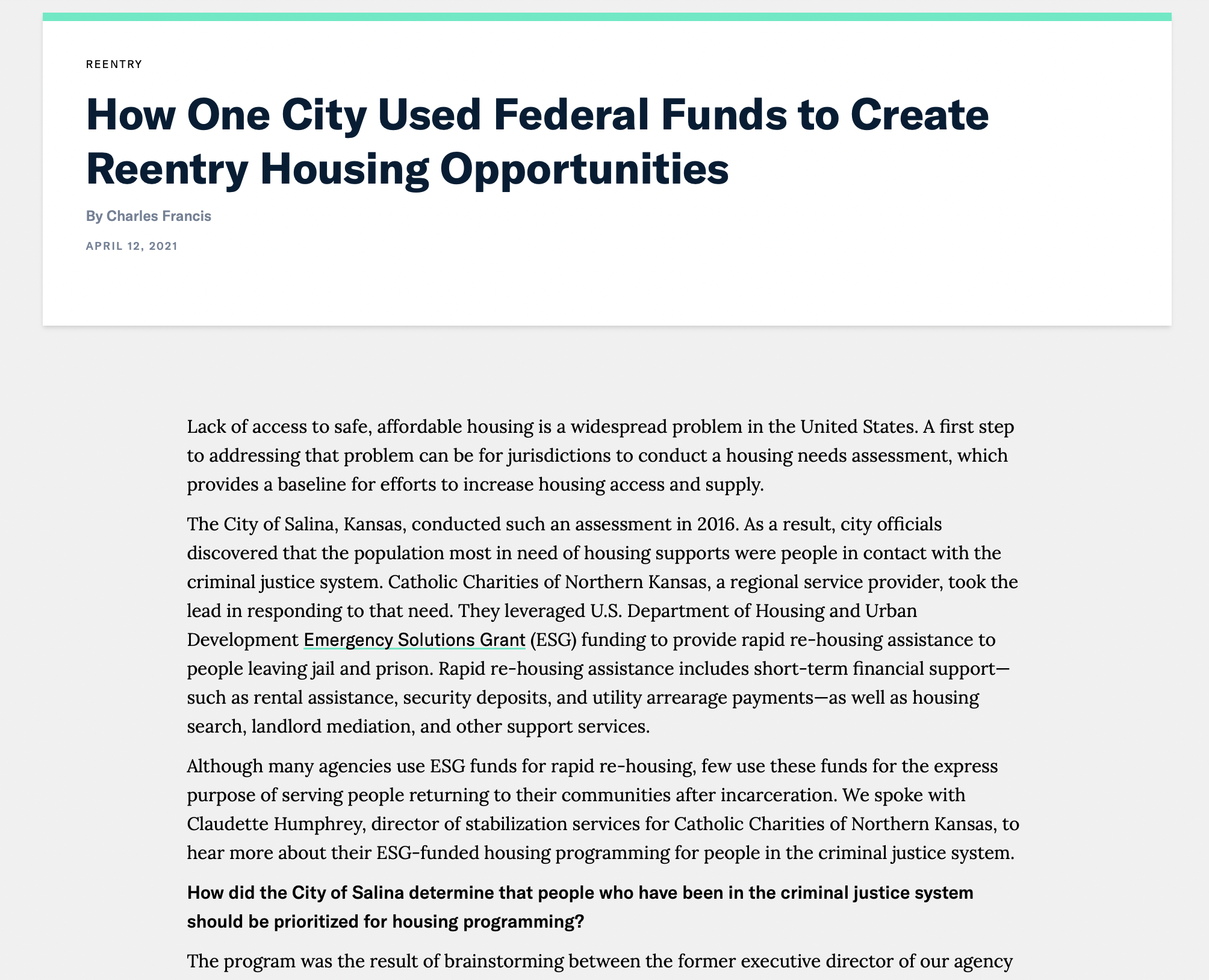Federal Funds to Create Reentry Housing Opportunities article screenshot