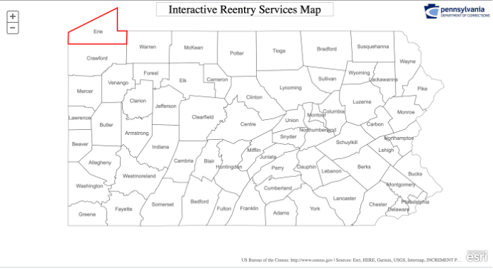 Pennsylvania Interactive Reentry Services Map by County