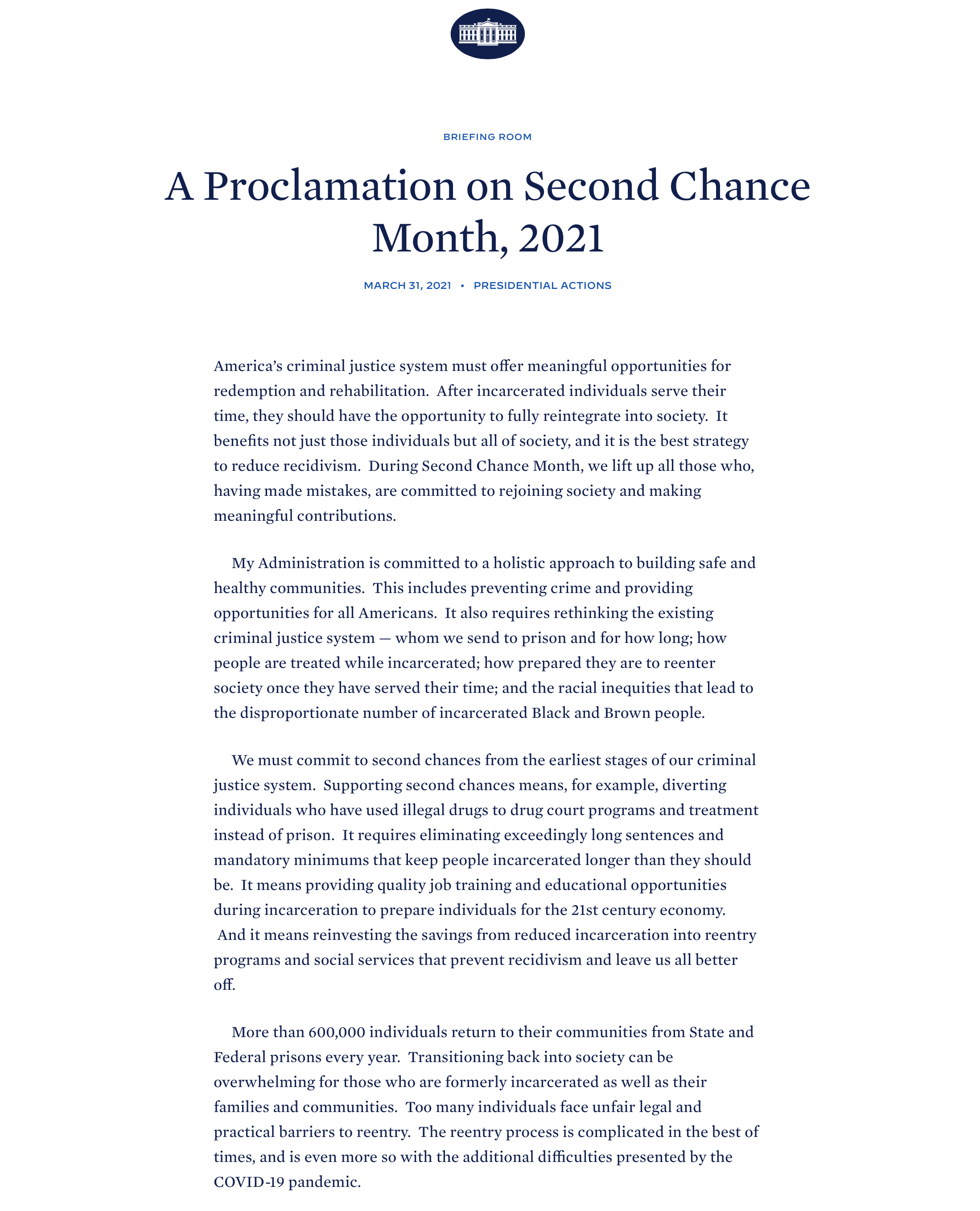 A Proclamation on Second Chance Month, 2021 screenshot