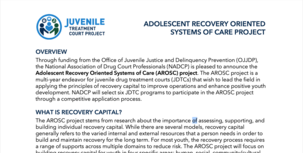 Adolescent Recovery Oriented Systems of Care (AROSC) project overview cover image