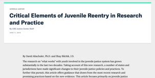 Critical Elements of Juvenile Reentry article screenshot