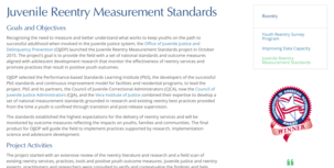 Juvenile Reentry Measurement Standards project overview screenshot