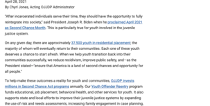 OJJDP supports youth blog post screenshot