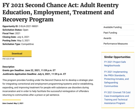 FY21 Adult Reentry Education, Employment, Treatment and Recovery Program solicitation page