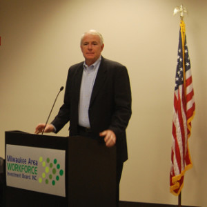 Milwaukee Mayor Tom Barrett welcomes business leaders at the Pathways to Prosperity Event